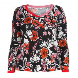 ELENA MIRO V-NECK FLORAL PRINT SWEATER - Plus Size Collection