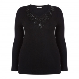 ELENA MIRO BLACK SWEATER WITH LEATHER AND JEWEL - Plus Size Collection