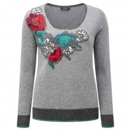 ELENA MIRO EMBROIDERED WOOL BLEND SWEATER - Plus Size Collection