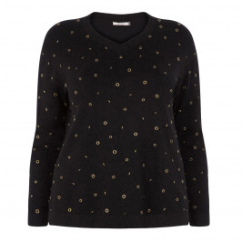 ELENA MIRO BLACK SWEATER WITH BRONZE EYELETS - Plus Size Collection