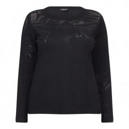 ELENA MIRO BLACK MESH DETAIL SWEATER - Plus Size Collection