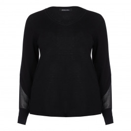 ELENA MIRO V-NECK SWEATER WITH CHIFFON SLEEVE DETAIL - Plus Size Collection