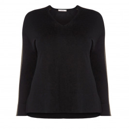 ELENA MIRO BLACK SWEATER WITH LUREX SIDE STRIPE - Plus Size Collection