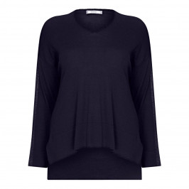 ELENA MIRO NAVY SWEATER WITH LUREX SIDE STRIPE - Plus Size Collection