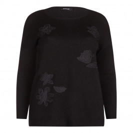 ELENA MIRO black floral lace appliqués SWEATER - Plus Size Collection