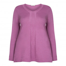 ELENA MIRO WOOL BLEND V-NECK SWEATER ORCHID - Plus Size Collection