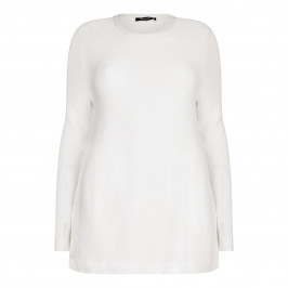 ELENA MIRO cream horizontal rib SWEATER - Plus Size Collection