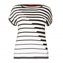 ELENA MIRO cap sleeve abstract stripe SWEATER - Plus Size Collection