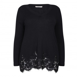 ELENA MIRO FINE KNIT WITH LACE HEM SWEATER - Plus Size Collection