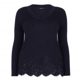 ELENA MIRO NAVY SWEATER WITH LACE HEM - Plus Size Collection
