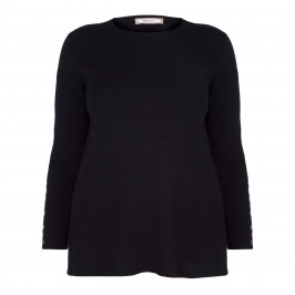 ELENA MIRO BLACK SWEATER BUTTON SLEEVE - Plus Size Collection