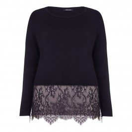 ELENA MIRO BLACK SWEATER WITH LACE HEM - Plus Size Collection