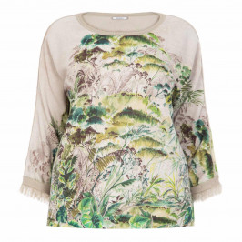 ELENA MIRO BOTANICAL PRINT LUREX SWEATER - Plus Size Collection