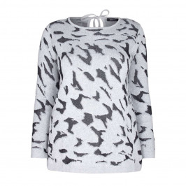 ELENA MIRO PRINT SILVER LUREX INTARSIA SWEATER  - Plus Size Collection