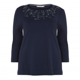 ELENA MIRO NAVY SEQUIN EMBELLISHED SWEATER - Plus Size Collection