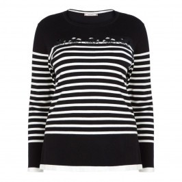 ELENA MIRO HIBISCUS FLOWER BRETON SWEATER BLACK - Plus Size Collection