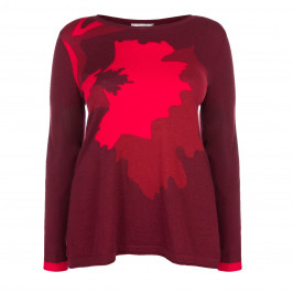 ELENA MIRO RED ABSTRACT PRINT SWEATER - Plus Size Collection