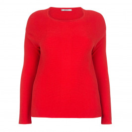 ELENA MIRO COTTON SILK BLEND RED SWEATER  - Plus Size Collection