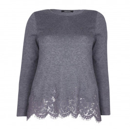 ELENA MIRO GREY SWEATER WITH LACE HEM - Plus Size Collection