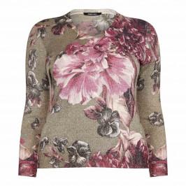 ELENA MIRO floral print lurex SWEATER - Plus Size Collection