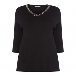 ELENA MIRO BLACK EMBELLISHED V-NECK SWEATER - Plus Size Collection