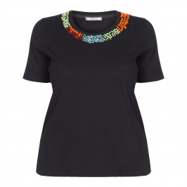 ELENA MIRO BLACK T-SHIRT BEAD EMBELLISHED NECK - Plus Size Collection