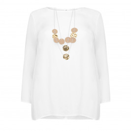 PIAZZA DELLA SCALA CREAM TOP WITH NECKLACE - Plus Size Collection