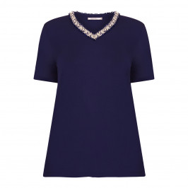 ELENA MIRO PEARL EMBELLISHED TOP NAVY - Plus Size Collection