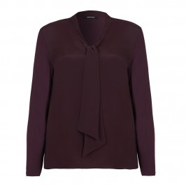 ELENA MIRO aubergine crepe front TOP with tie detail