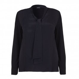 ELENA MIRO black crepe front TOP with tie detail