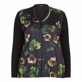 ELENA MIRO Floral and tulle print jersey TOP - Plus Size Collection