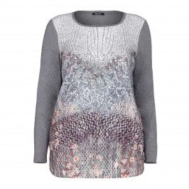 ELENA MIRO PRINT GREY KNIT AND SEQUIN PRINT TOP  - Plus Size Collection