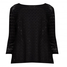 ELENA MIRO black stretch lace effect TOP - Plus Size Collection