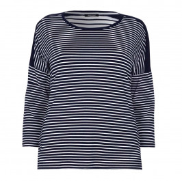 ELENA MIRO navy and white stripe jerseyTOP - Plus Size Collection