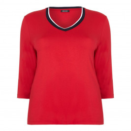 ELENA MIRO red v-neck contrast edge TOP - Plus Size Collection