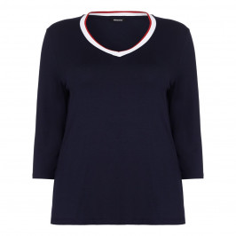 ELENA MIRO navy v-neck contrast edge TOP - Plus Size Collection