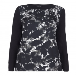 ELENA MIRO MONOCHROME PRINT TOP WITH CREPE FRONT - Plus Size Collection