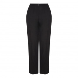 ELENA MIRO LINEN MIX FRONT FASTEN TROUSER BLACK  - Plus Size Collection