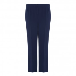 ELENA MIRO NAVY RELAXED BOOT CUT TROUSERS - Plus Size Collection