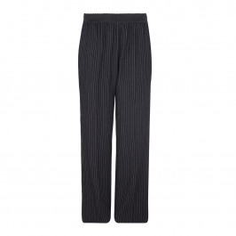 ELENA MIRO BLACK PINSTRIPE ELASTIC WAIST TROUSERS - Plus Size Collection
