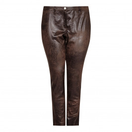 ELENA MIRO distressed faux leather TROUSERS - Plus Size Collection