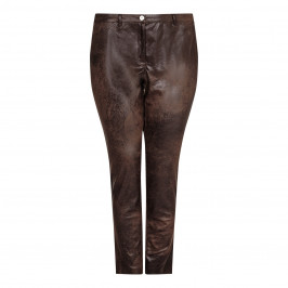 ELENA MIRO distressed faux leather TROUSERS