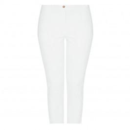 ELENA MIRO COTTON STRETCH CROPPED TROUSER WHITE - Plus Size Collection