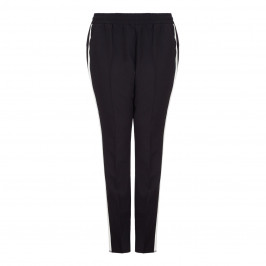 ELENA MIRO black pull-on TROUSERS with white side stripe - Plus Size Collection