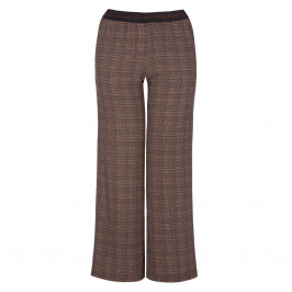 ELENA MIRO CHECK PALAZZO TROUSER CHOCOLATE - Plus Size Collection