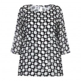 ELENA MIRO POLKA DOT CHIFFON TUNIC  - Plus Size Collection