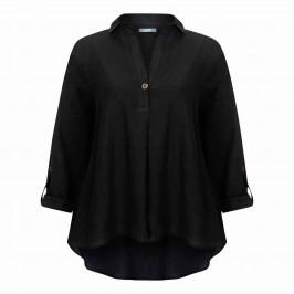 ELENA MIRO LINEN VISCOSE BLEND TUNIC BLACK - Plus Size Collection