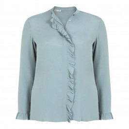 ELENA MIRO SILK BLEND RUFFLE BLOUSE - Plus Size Collection