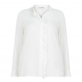 ELENA MIRO SILK BLEND RUFFLE BLOUSE WHITE - Plus Size Collection