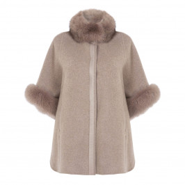 ELENA MIRO WOOL AND CASHMERE FUR-TRIMMED COAT - Plus Size Collection